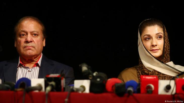 Nawaz Sharif mit seiner Tochter Maryam Nawaz bei einer PML-N-Veranstaltung am 11.07.2018 in London; Foto: AFP/Getty Images
