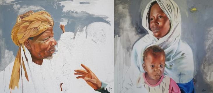Bildmontage: Porträts des mauretanischen Künstlers Saleh Lô; Foto: Saleh Lô