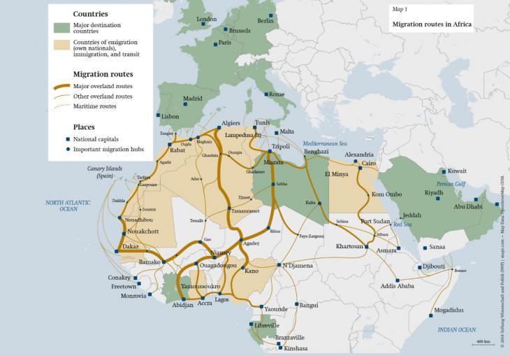 Grafik zur Illustration der Migration nach Europa. Foto: Stiftung Wissenschaft und Politik (SWP)