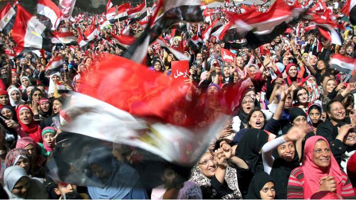 Proteste gegen den früheren ägyptischen Präsidenten Hosnis Mubarak auf de Tahrir-Platz in Kairo; Foto: dpa