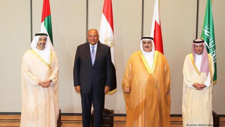 Die Außenminister der VAE, Saudi Arabiens und Ägyptens; Foto: picture-alliance