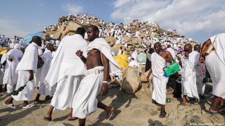 Muslimische Pilger am Berg Arafat am 20. August 2018; Foto: AHMAD AL-RUBAYE/AFP/Getty Images