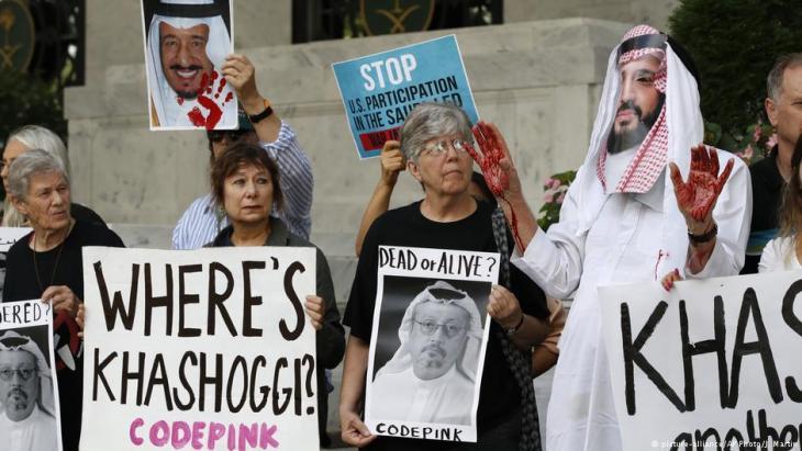Proteste in Washington zur Aufklärung des mutmaßlichen Mordes am saudischen Journalisten Khashoggi; Foto: picture-alliance/AP