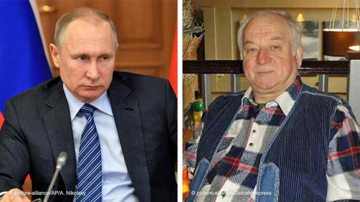 Fotomontage: Wladimir Putin (links) und der ehemalige russische Spion Sergei Skripal; Fotos: picture-alliance/AP/A. Nikolsky; picture-alliance/Globallookpress
