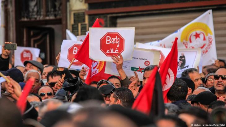 Arbeiterproteste am 17.01.2019: Generalstreik in Tunesien, organisiert vom Gewerkschaftsdachverband UGTT; Foto: picture-alliance/AA