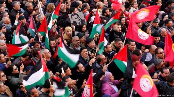 Protestkundgebung während des zweitägigen Generalstreiks in Tunis am 17. Januar 2019; Foto: Reuters