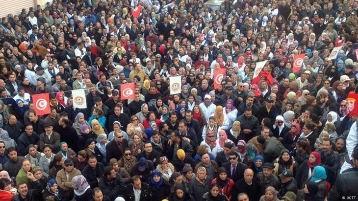 Protestversammlung der Gewerkschaft UGTT in Tunesien; Quelle: UGTT