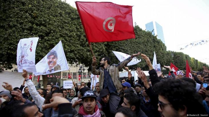 Demonstration junger Tunesier in Tunis, Januar 2016. Foto: Z/Soussi