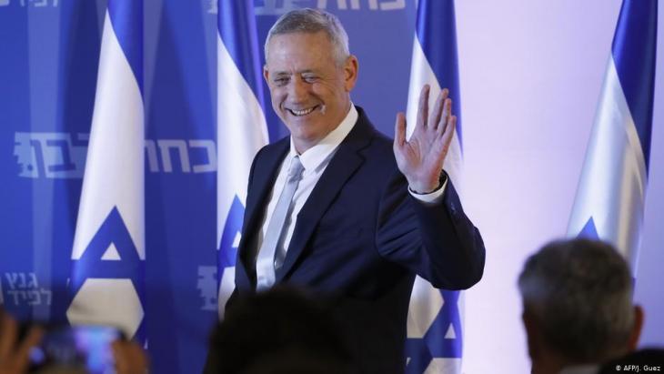 Der ehemalige Generalstabschef Benny Gantz bei einer seiner Wahlveranstaltungen in Tel Aviv; Foto: AFP