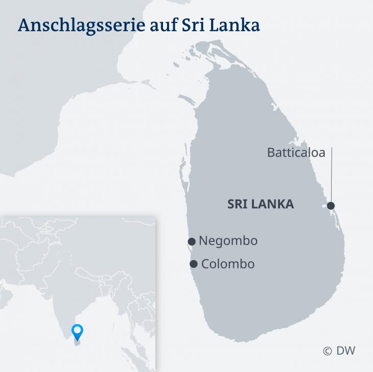 Mindestens acht Detonationen ereigneten sich im Zentrum und Vororten der Hauptstadt Colombo und zwei weiteren Orten. Grafik: DW