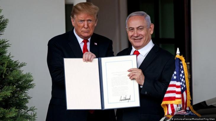 Trump erkennt Israels Souveränität über Golanhöhen formell an; Foto: picture-alliance/Xinhua