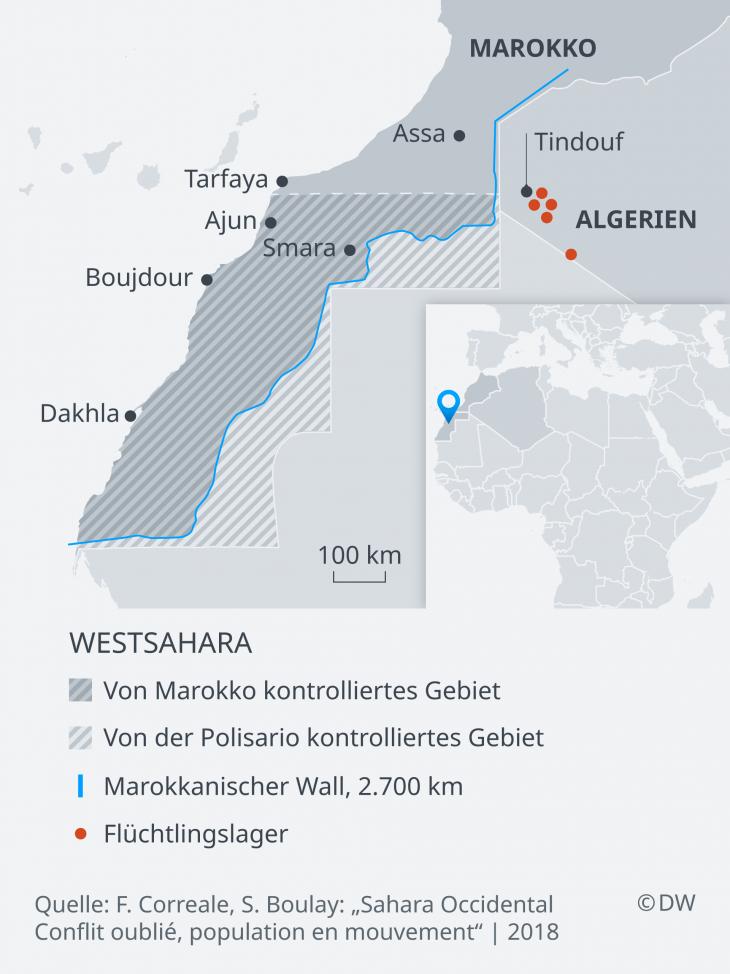 Karte der Westsahara und der angrenzenden Staaten Nordafrikas; Quelle: DW