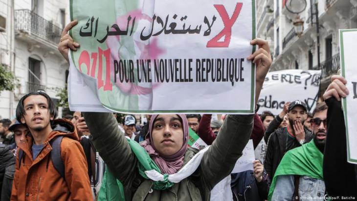 Proteste gegen eine eine fünfte Amtszeit von Präsident Bouteflika am 19. April 2019; Foto: