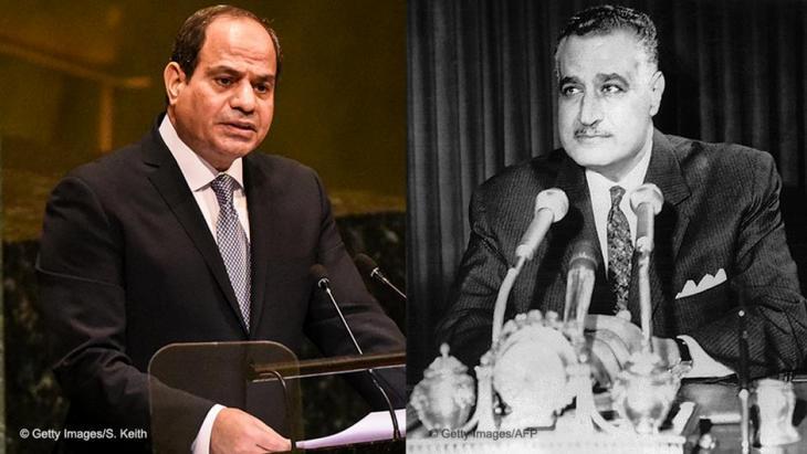Fotomontage der ägyptischen Präsidenten Abdel Fattah al-Sisi und Gamal Abdel Nasser; Foto: STF/AFP/Getty Images
