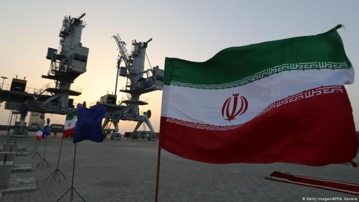 Iranian flags flutter during an inauguration ceremony for new equipment and infrastructure on 25 February 2019 at the Shahid Beheshti Port in the south-eastern Iranian coastal city of Chabahar, on the Gulf of Oman (photo: Getty Images/AFP/A. Kenare)
