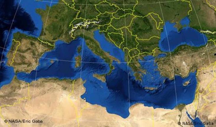 Karte Mittelmeeranrainerstaaten mit Ländergrenzen (EU-Maghreb); Foto: NASA/Eric Gaba