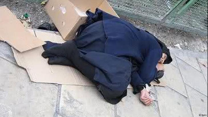 Obdachlose Frau in Teheran; Foto: Mehr