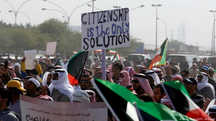 Immer wieder fordern Bidun bei Demonstrationen, dass ihnen die kuwaitische Staatsbürgerschaft erteilt wird. Foto: getty images/afp/Y. Al Zayyat