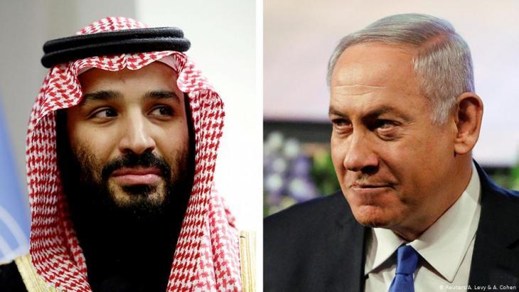 Bildkombination: Der saudische Kronprinz Mohammed bin salman (l.) neben Israels Ministerpräsident Benjamin Netanjahu; Foto: Reuters/A.Levy & A.Cohen