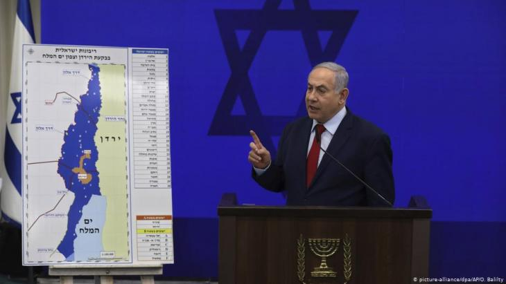 Ministerpräsident Netanjahu am 10.09.2019 zur Annektion des Jordantals; Foto: picture-alliance/dpa