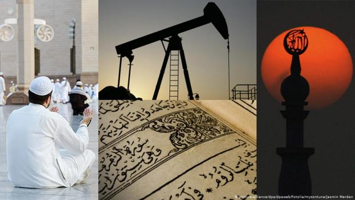 Bildcombo Erdöl und Wahhabismus in Saudi-Arabien; Foto: picture-alliance/dpa/Jasmin Merdan/Fotolia.com/mysontuna - Fotolia.com