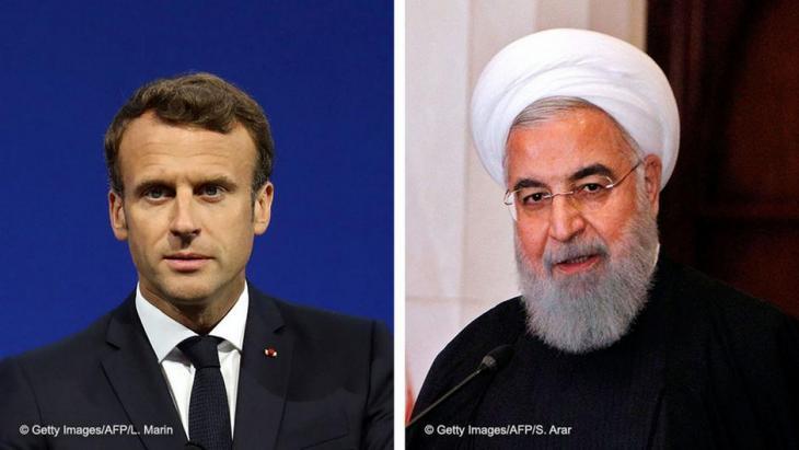 Bildkombination Emmanuel Macron und Hassan Rohani; Foto: AFP/Getty Images