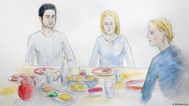 Illustration: Anna und Abdul gemeinsam mit Annas Mutter am Essenstisch; Foto: DW/Gesa Kuis