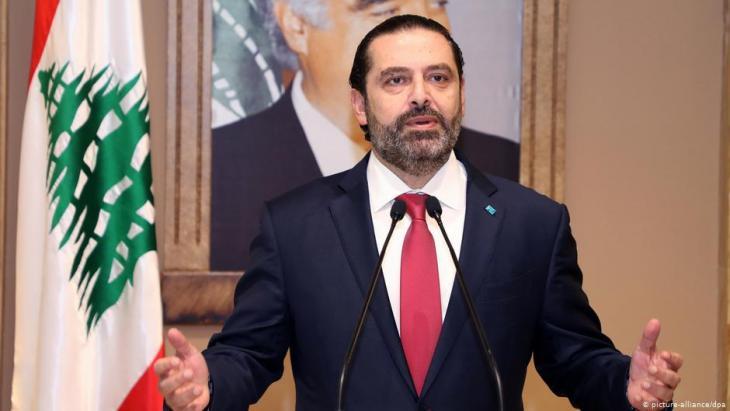 Saad Hariri kündigt im libanesischen Staatsfernsehen im Oktober 2019 seinen Rücktritt an; Foto: dpa/picture-alliance