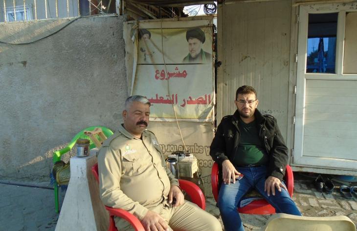 Wachpersonal vor dem Medienzentrum Muktada al-Sadrs; Foto: Birgit Svensson
