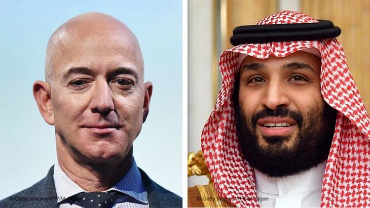 Bildkombo Jeff Bezos und Mohammed bin Salman (r.); Foto: AFP/Getty Images