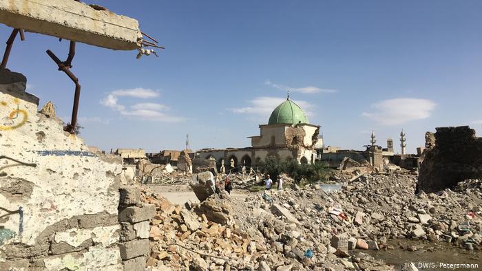 Blick auf die zerstörte Al-Nuri-Moschee von Mossul; Foto: DW