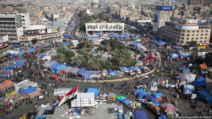 Zeltstadt am Tahrir in Bagdad; Foto: Getty Images/AFP