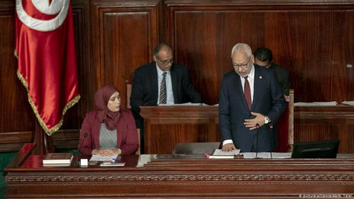 Ennahda-Chef Rachid Ghannouchi während einer Sitzung im tunesischen Parlament am 13. November 2019; Foto: picture-alliance/AA/N. Talel
