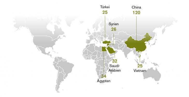 Infografik zeigt Zahl der inhaftierten Journalisten in Ägypten, Saudi-Arabien, China, der Türkei und Vietnam auf; Quelle: Reporter ohne Grenzen