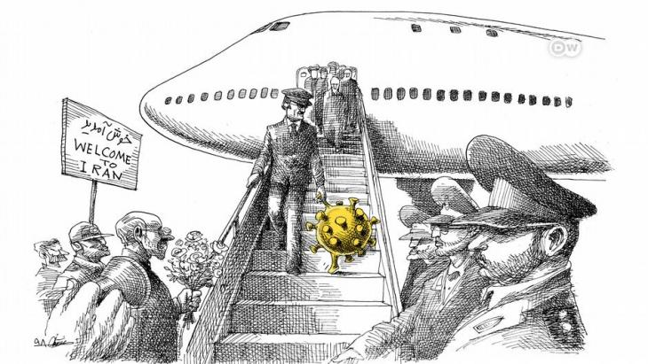 Karikatur Coronavirus-Ausbreitung im Iran; Quelle: DW