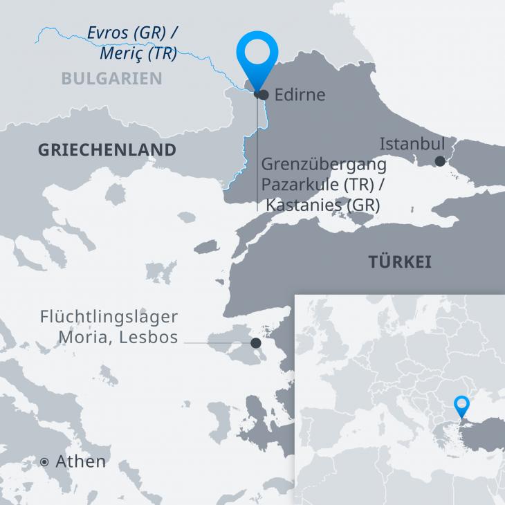 Infografik Flüchtlinge an der griechisch-türkischen Grenze und auf der Ägäis-Insel Lesbos; Quelle: DW