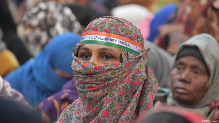 Muslimische Frauen protestieren am 12. Januar 2020 in Neu Delhi gegen Modis Staatsbürgerschaftsgesetz; Foto: DW/M. Javed