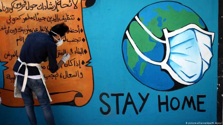 Grafitti Coronavirus im Gazastreifen mit der Aufforderung, zuhause zu bleiben; Foto: picture-alliance/dpa/M.Ajjour