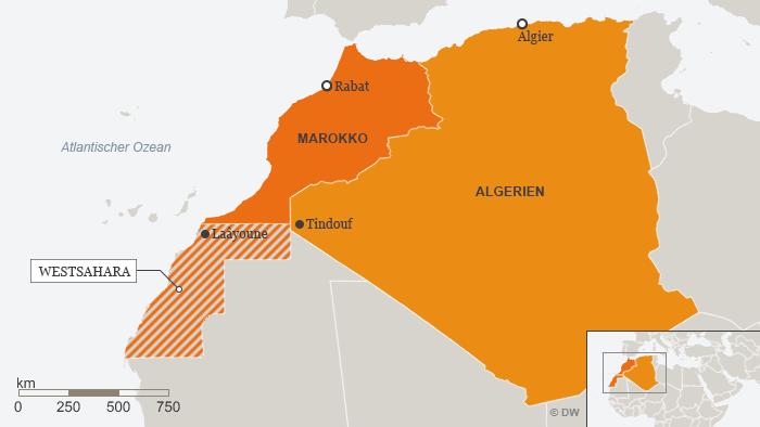 Infografik zeigt Karte Marokkos und er Westsahara; Quelle: DW