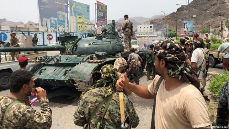 "Separatisten des ""Übergangsrats Südarabien"" (STC) in Aden; Foto: Getty Images/AFP"