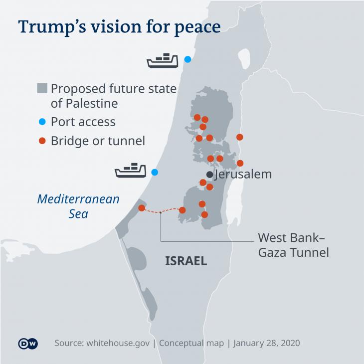 """Infografik zeigt Donald Trumps """"Vision for Peace"""" im Nahen Osten; Quelle: DW"""