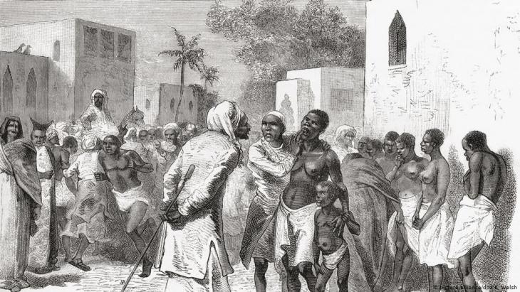 Ein Sklavenmarkt auf Sansibar, Darstellung von 1878; Quelle: picture-alliance/dpa