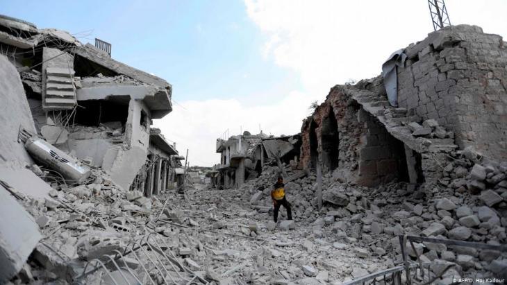 Zerstörungen im syrischen Idlib; Foto: AFP/O. Haj Kadour