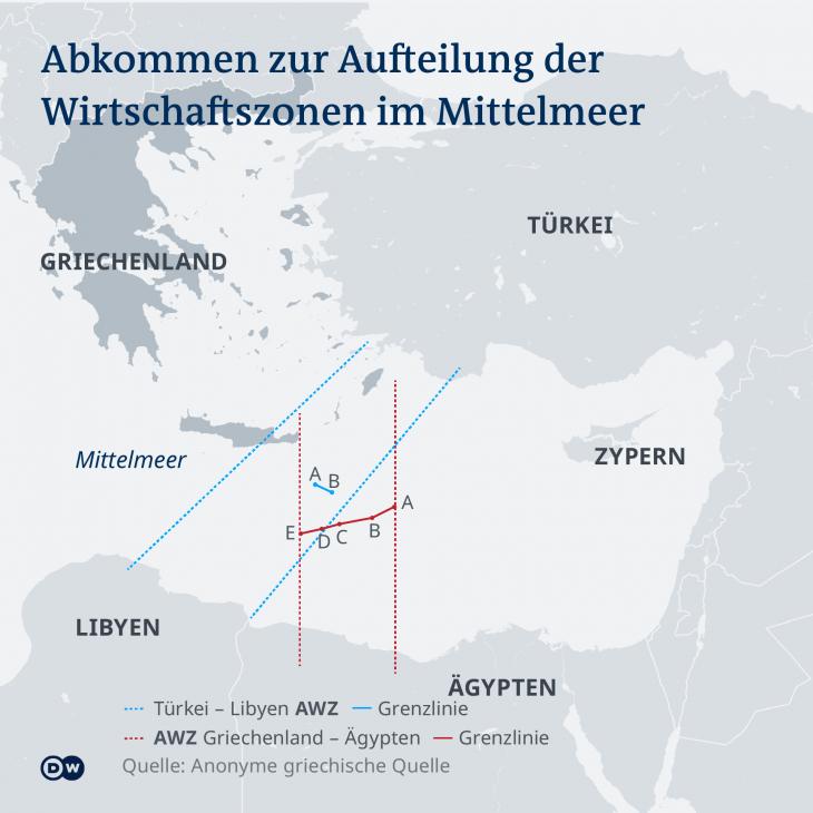 Abkommen zur Aufteilung der Wirtschaftszonen im Mittelmeer. (Infografik: DW)