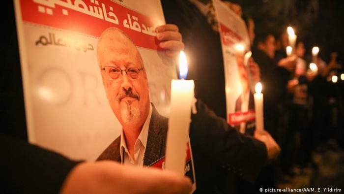 Mahnwache für den ermordeten saudischen Dissidenten Jamal Khashoggi; Foto: picture-alliance/AA.
