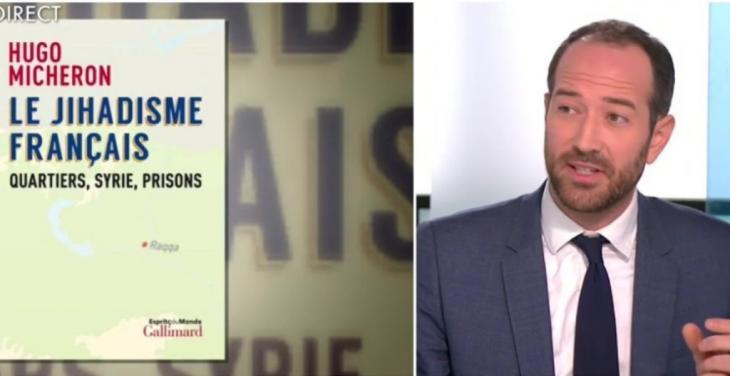 """Fotokombination Buchcover """"Le Jihadisme francais. Quartiers, Syrie, Prisons"""" und der Buchautor Hugo Micheron; Quelle: YouTube"""