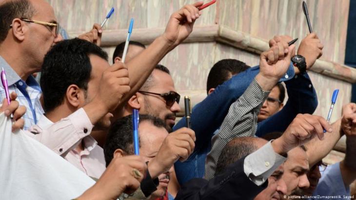 Proteste ägyptischer Journalisten in Kairo; Foto: picture-alliance/Zumapress/A. Sayed