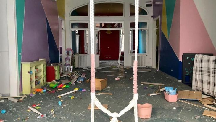 Beschädigter Wohnraum der Familie Cochrane; Foto: privat