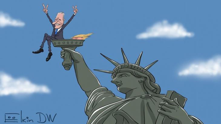 Karikatur Sergey Elkin l US-Präsidentschaftswahl - Joe Biden feiert den Sieg. Foto: DW