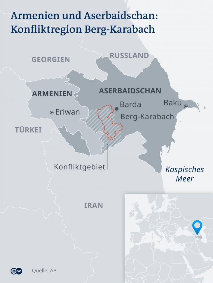 Karte Armenien Aserbaidschan Berg-Karabach DE  (Foto: DW)